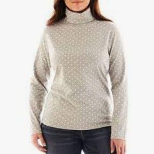 Liz Claiborne Polka Dot Long Sleeve Turtleneck